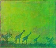 Предпосылка с африканской фауной и флорой Стоковая Фотография RF