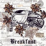 Предпосылка с выгравированными кофейными чашками, зерно плаката вектора кофе бесплатная иллюстрация