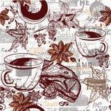 Предпосылка с выгравированными кофейными чашками, grai картины вектора кофе иллюстрация вектора
