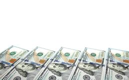 Предпосылка с долларовыми банкнотами американца 100 денег с космосом экземпляра внутрь Рамка деноминаций банкнот 100 долларов Стоковое фото RF