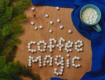 Предпосылка с елью, волшебство рождества кофе слов, шарф, чашка кофе Стоковая Фотография RF