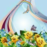 Предпосылка с желтыми розами Стоковая Фотография RF