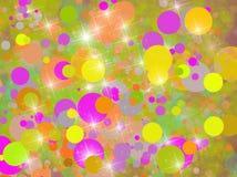 Предпосылка с желтым цветом и розовыми кругами Стоковое Фото
