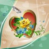 Предпосылка с желтым цветом h розовым и cornflowers Стоковое Изображение RF