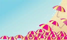 Предпосылка с зонтиками и морем пляжа иллюстрация вектора