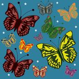 Предпосылка с красочными бабочками иллюстрация штока