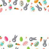 Предпосылка с орнаментальными яичками и кроликами Стоковое Изображение