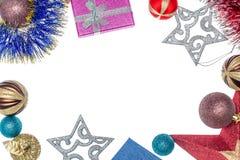 Предпосылка с подарками и украшениями рождества Пузыри и звезды рождества деревянное украшений рождества экологическое Подготавли Стоковые Фотографии RF