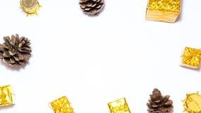 Предпосылка с подарочной коробкой золота, предпосылка рождества Нового Года Стоковое Изображение RF