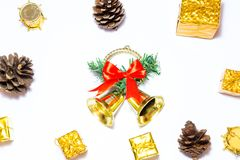Предпосылка с подарочной коробкой золота, предпосылка рождества Нового Года Стоковые Фотографии RF