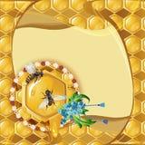 Предпосылка с пчелами и сотом Стоковые Фотографии RF