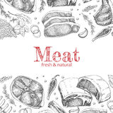 Предпосылка с различными мясными продуктами Стоковые Изображения