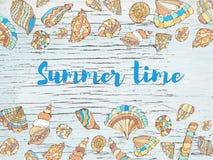 Предпосылка с раковинами, дизайн моря времени PrintSummer руки вычерченный также вектор иллюстрации притяжки corel иллюстрация штока