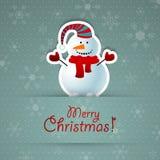 Предпосылка с Рождеством Христовым с снеговиком. Стоковое Изображение RF