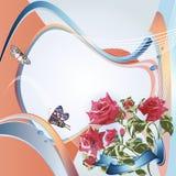 Предпосылка с розовыми розами Стоковое Изображение