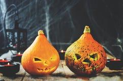 Предпосылка с сетью ` s паука, тыквы ужаса хеллоуина, candl Стоковые Изображения RF