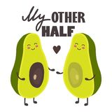 Предпосылка с счастливыми авокадоом, сердцем и текстом иллюстрация штока
