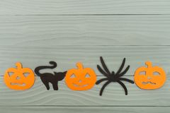 Предпосылка с тыквами, кот праздника хеллоуина, паук Стоковая Фотография RF