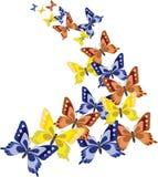 Предпосылка с цветастыми бабочками Стоковое Фото