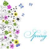 Предпосылка с цветками и бабочками Стоковое Фото
