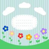 Предпосылка с цветками и рамка для scrapbook Стоковая Фотография