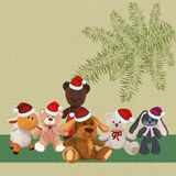 Предпосылка с щенком и другими милыми игрушками плюша Стоковые Фото