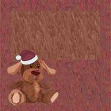 Предпосылка с щенком плюша в крышке рождества Стоковые Изображения RF