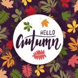 Предпосылка с multicolor листьями осени также вектор иллюстрации притяжки corel Стоковые Фото