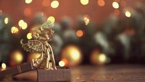 Предпосылка таблицы предпосылки, рождества праздника рождества с украшенной рождественской елкой и гирлянды Красивое пустое рожде сток-видео