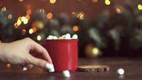 Предпосылка таблицы предпосылки, рождества праздника рождества с украшенной рождественской елкой и гирлянды Красивое пустое рожде акции видеоматериалы