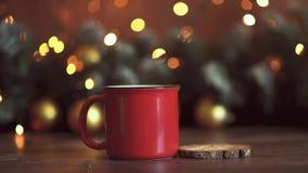 Предпосылка таблицы предпосылки, рождества праздника рождества с украшенной рождественской елкой и гирлянды Красивое пустое рожде видеоматериал