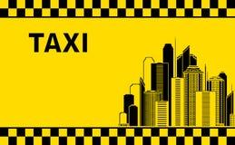 Предпосылка таксомотора с ландшафтом города Стоковое Изображение