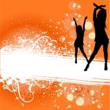 предпосылка танцуя флористические женщины Стоковая Фотография