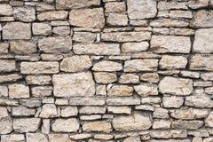 Предпосылка текстурированная концом-вверх скачками естественная каменная стена сделанная различных камней без типа цемент выпуска Стоковое Изображение