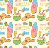 Предпосылка тематического doodle лета безшовная иллюстрация вектора