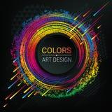 Предпосылка темноты вектора рамка стильная Яркие спектральные цвета Текстура Grunge Мазки мел Геометрические формы и выплеск крас бесплатная иллюстрация