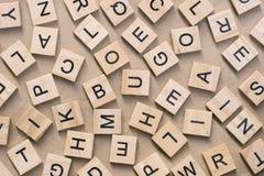 предпосылка типа блоков letterpress деревянного печатания, случайная позволила Стоковая Фотография