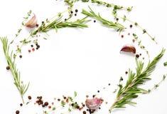 Предпосылка, травы и специи еды стоковые фото