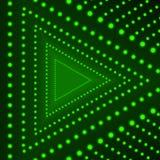 Предпосылка треугольника вектора, накаляя круги, зеленые светы на темной предпосылке, неоновой стрелке иллюстрация вектора