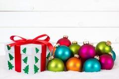 Предпосылка украшения карточки подарка рождества деревянная деревянная Стоковые Фото