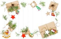 Предпосылка украшения подарочных коробок рождества деревянная Стоковое фото RF