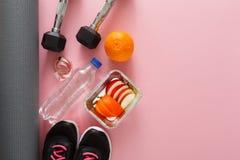 Предпосылка фитнеса, оборудование спорта, космос экземпляра Стоковое Фото