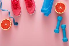 Предпосылка фитнеса, оборудование спорта, космос экземпляра Стоковые Изображения