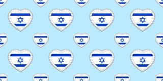 Предпосылка флагов Израиля Картина израильского флага безшовная Стикеры вектора Символы сердец любов Хороший выбор для спорт иллюстрация штока