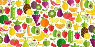 Предпосылка фруктов и овощей Органическая и здоровая еда Плоский стиль, иллюстрация вектора иллюстрация вектора