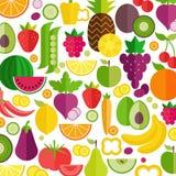 Предпосылка фруктов и овощей Органическая и здоровая еда Плоский стиль, иллюстрация вектора бесплатная иллюстрация