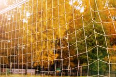 Предпосылка футбола или футбола сетчатая, осень Стоковое Фото