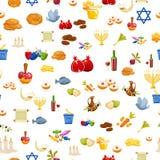 Предпосылка Хануки еврейского праздника безшовная Иллюстрация вектора стиля шаржа Стоковые Фотографии RF