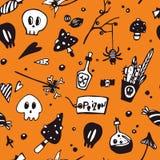 Предпосылка хеллоуина безшовная с призраками, пауками, летучими мышами, волшебными книгами и свечами иллюстрация штока