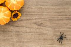Предпосылка хеллоуина с листьями и тыквами Стоковые Фотографии RF